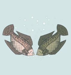 Two loving fish zen tangle zentangle undersea vector
