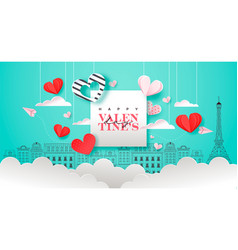 valentines day pink paris city paper cut heart vector image