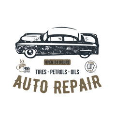 vintage hand drawn auto repair t shirt design vector image