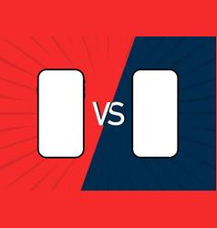 Vs cellphone comparison two smartphones mockup vector