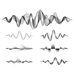 wave sound set music soundwave design vector image