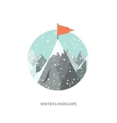 Winter landscape Mountaines vector image