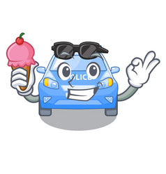 with ice cream police car in the shape character vector image