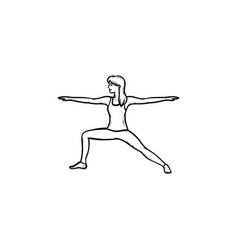 woman doing yoga hand drawn outline doodle icon vector image