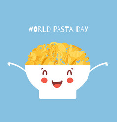 world pasta day cartoon with vector image