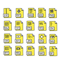 yellow hand drawn icons for popular file and vector image