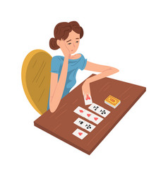 Young woman laying out playing cards girl playing vector