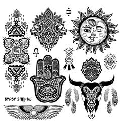 Bohemian style flash tattoo symbols vector image