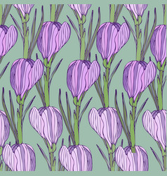 floral pattern with purple flowers seamless print vector image vector image