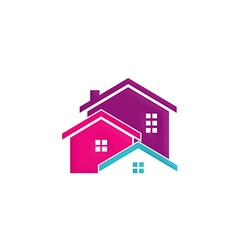 house building realty colorful logo vector image vector image