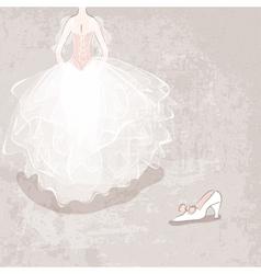 sketch bride in wedding dress on grungy background vector image vector image
