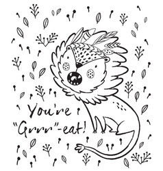 you are great cute lion cartoon vector image vector image