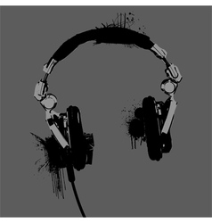 Headphones stencil vector image vector image