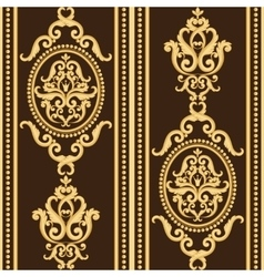 Seamless damask pattern Gold and brown texture vector image