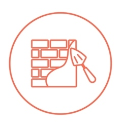 Spatula with brickwall line icon vector