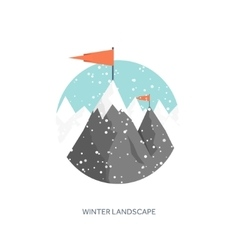Winter landscape Mountaines vector image