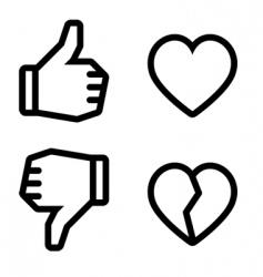 Broken heart icons vector