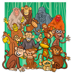 cartoon monkey characters group vector image vector image
