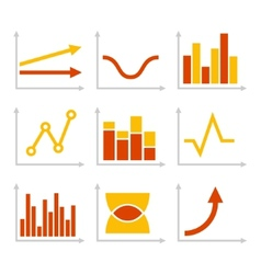 Color Graph Chart Icons Set vector image