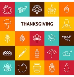 Line Art Thanksgiving Day Holiday Icons Set vector image