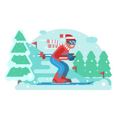mountain skiing man riding on winter forest vector image vector image