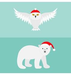 Snowy white owl Polar bear Red Santa hat Flying vector image vector image