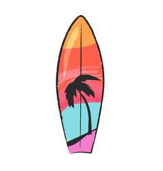 surfboard with colorful lines and palm tree vector image