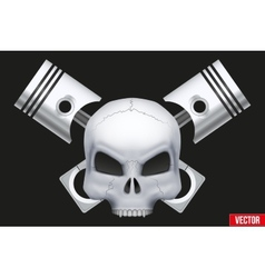 Creative symbol Human skull with engine vector image vector image