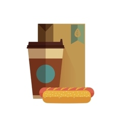 Fast food lunch in flat design vector image vector image