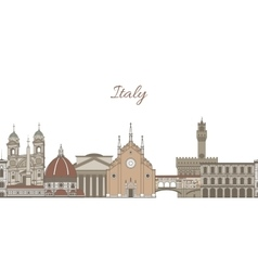 template with famous landmarks of Italy vector image