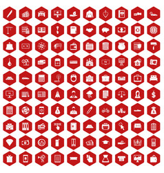 100 credit icons hexagon red vector