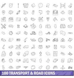 100 transport and roads icons set outline style vector image