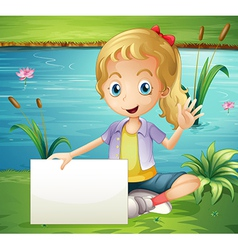 A girl at the pond holding an empty signboard vector image