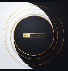 abstract black and white circle with golden rings vector image