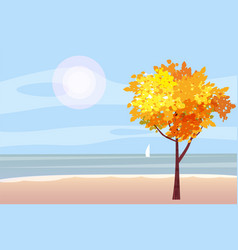 autumn landscape on the sea ocean tree sailboat vector image