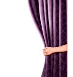 Background with violet velvet curtain and hand vector
