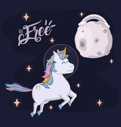 Beautiful and magic unicorn cartoon vector