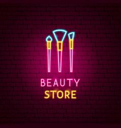 Beauty store neon label vector