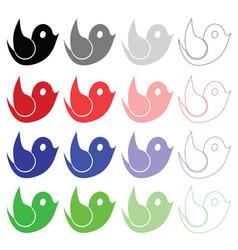 bird set in multiple colors vector image