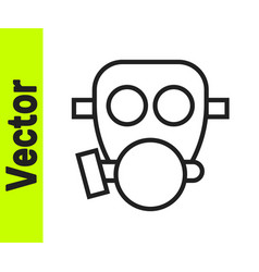 black line gas mask icon isolated on white vector image