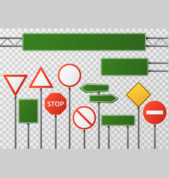 Blank street traffic and road signs set vector