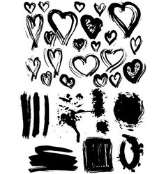 Blots Splash banners and heart set Grunge texture vector image