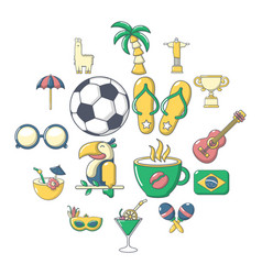 Brasil travel icons set cartoon style vector