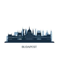budapest skyline monochrome silhouette vector image