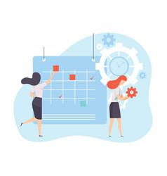 businesswomen planning their project agenda in vector image