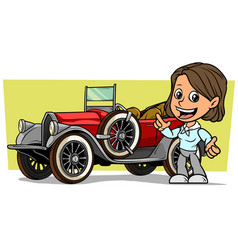 cartoon girl character with retro convertible car vector image