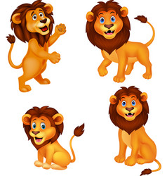 Cartoon lion collection set vector