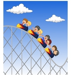 Cartoon little kid play in rollercoaster vector image
