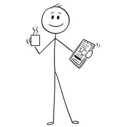 cartoon of happy businessman with mug of coffee vector image