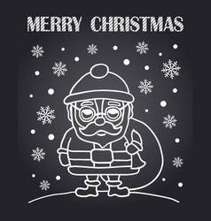 christmas chalkboard card with santa claus vector image